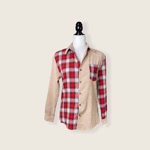 SHEIN Red Plaid Beige Contrast Color Block Top XS